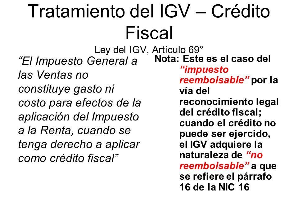 Tratamiento del IGV – Crédito Fiscal Ley del IGV, Artículo 69°