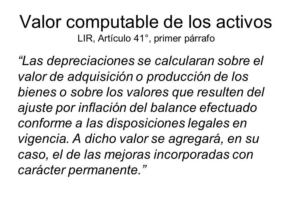 Valor computable de los activos LIR, Artículo 41°, primer párrafo