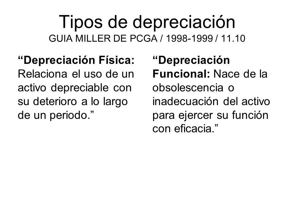 Tipos de depreciación GUIA MILLER DE PCGA / 1998-1999 / 11.10