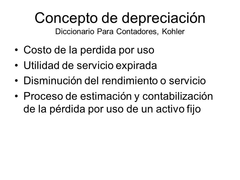 Concepto de depreciación Diccionario Para Contadores, Kohler