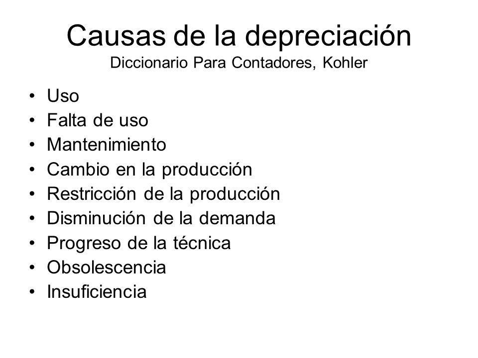 Causas de la depreciación Diccionario Para Contadores, Kohler