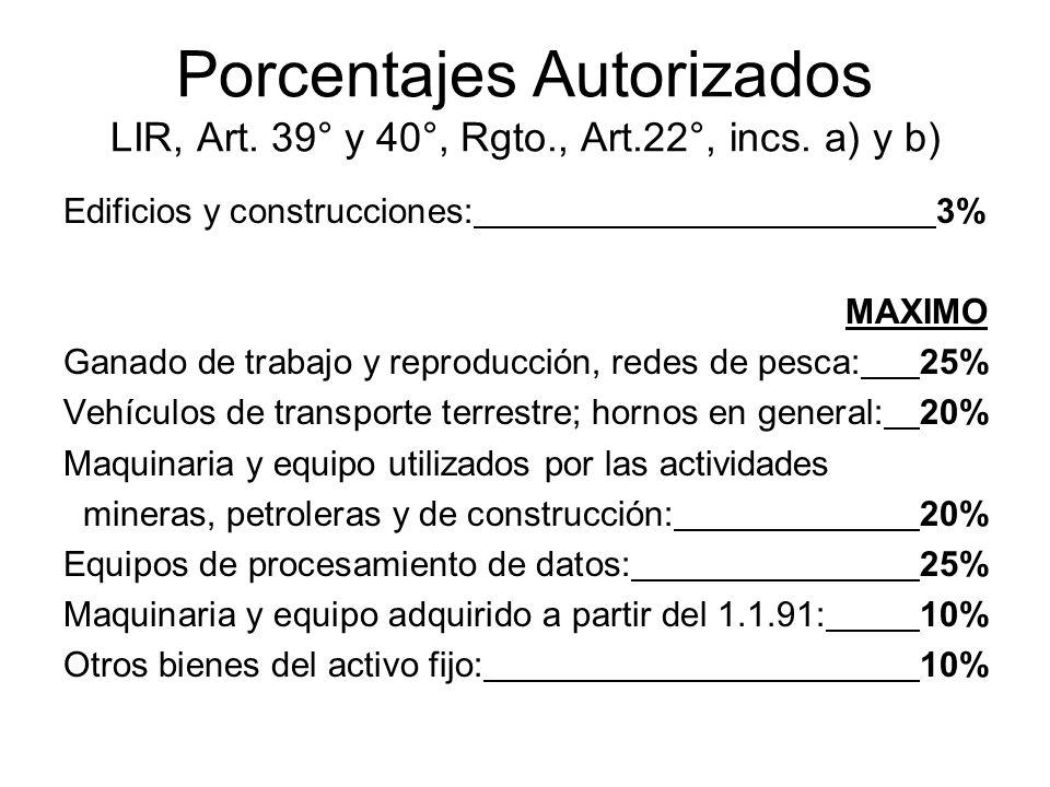 Porcentajes Autorizados LIR, Art. 39° y 40°, Rgto. , Art. 22°, incs