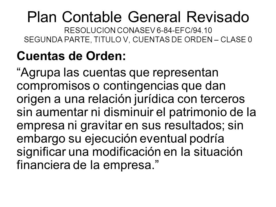 Plan Contable General Revisado RESOLUCION CONASEV 6-84-EFC/94