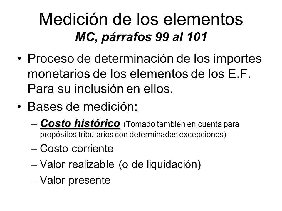 Medición de los elementos MC, párrafos 99 al 101