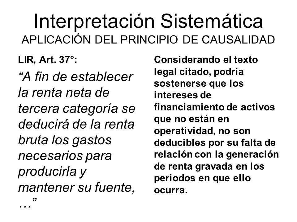 Interpretación Sistemática APLICACIÓN DEL PRINCIPIO DE CAUSALIDAD