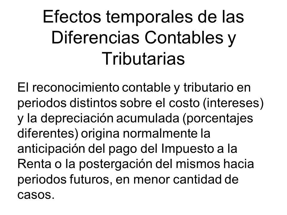 Efectos temporales de las Diferencias Contables y Tributarias