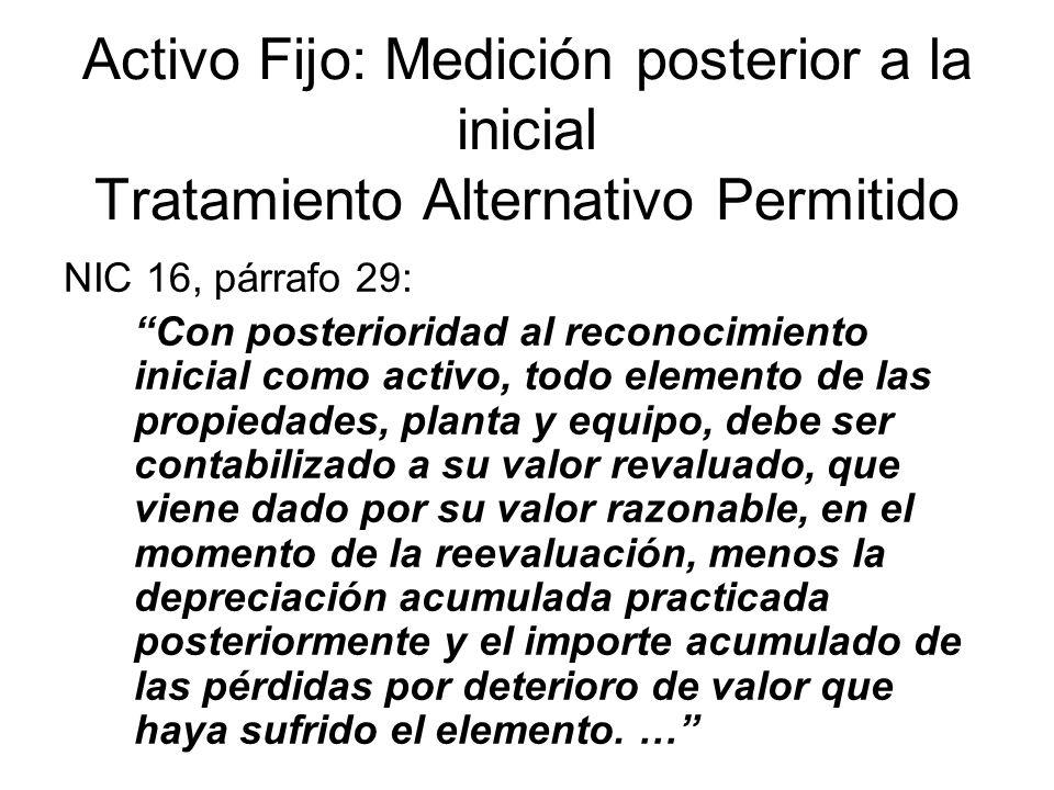 Activo Fijo: Medición posterior a la inicial Tratamiento Alternativo Permitido
