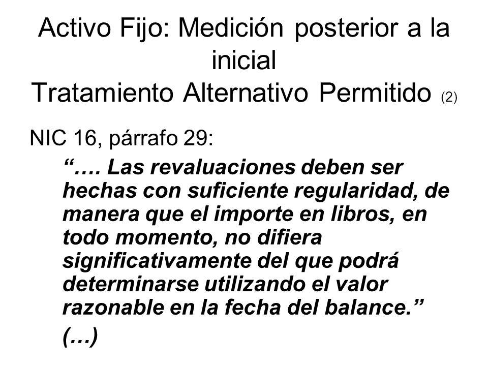 Activo Fijo: Medición posterior a la inicial Tratamiento Alternativo Permitido (2)