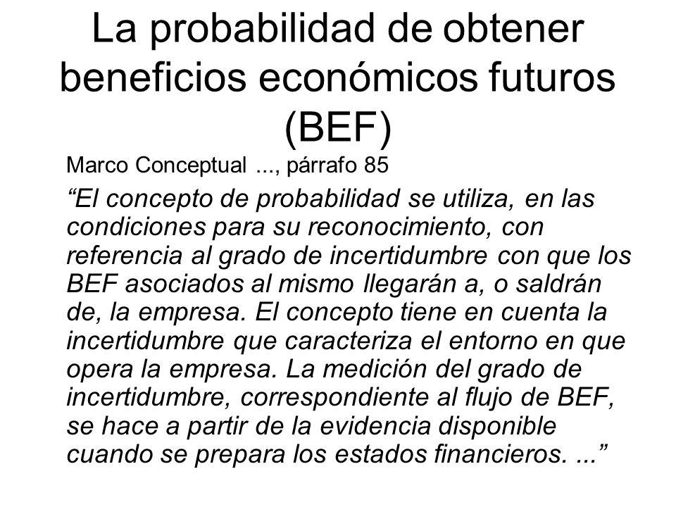 La probabilidad de obtener beneficios económicos futuros (BEF)