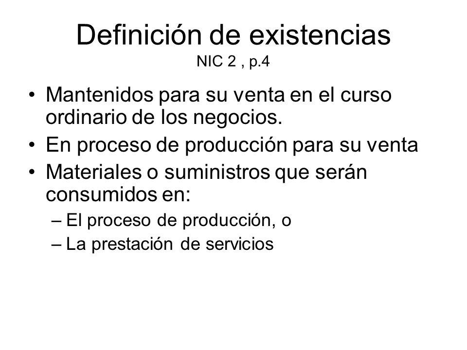 Definición de existencias NIC 2 , p.4