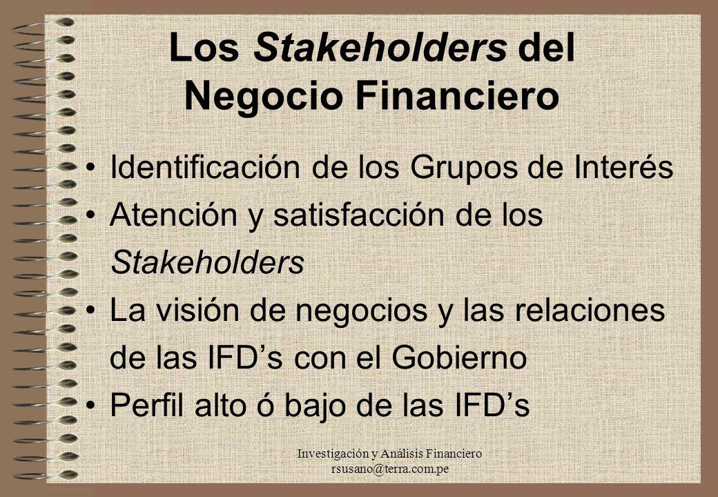 Los Stakeholders del Negocio Financiero