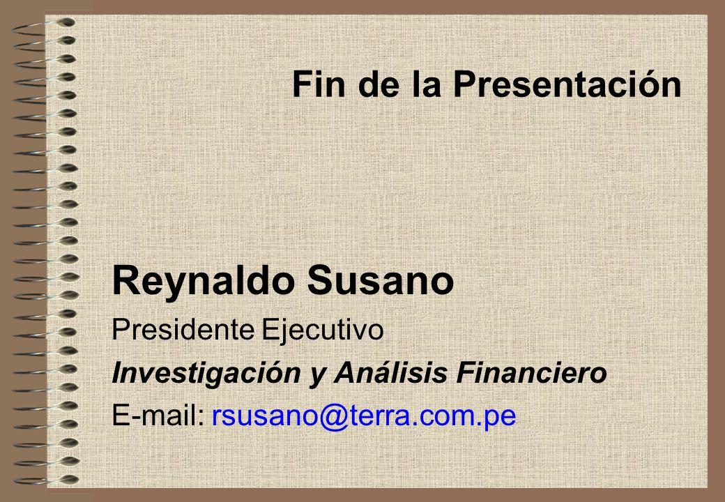 Reynaldo Susano Fin de la Presentación Presidente Ejecutivo