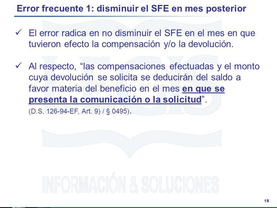 Error frecuente 1: disminuir el SFE en mes posterior