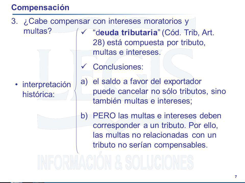 Compensación ¿Cabe compensar con intereses moratorios y multas
