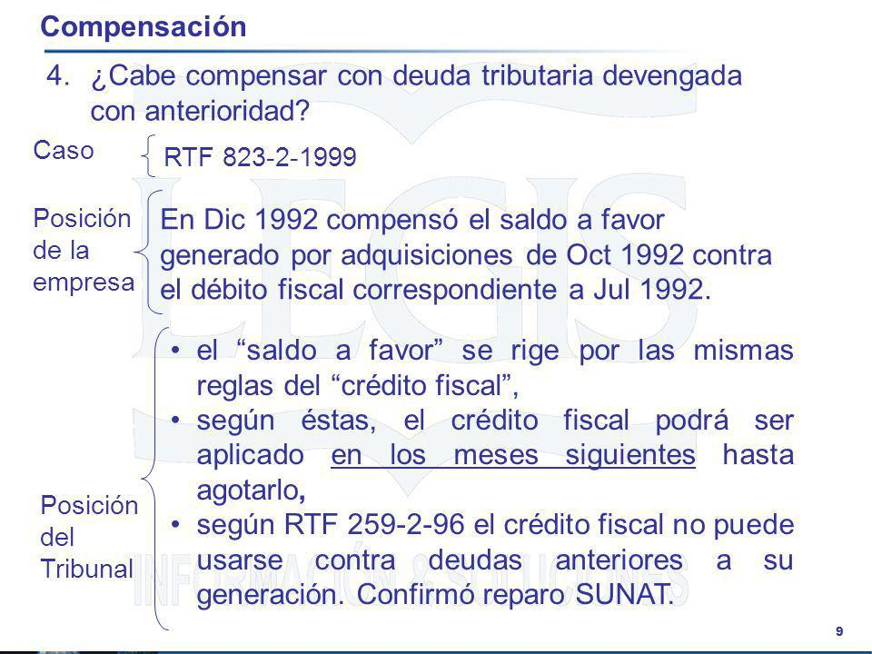 ¿Cabe compensar con deuda tributaria devengada con anterioridad