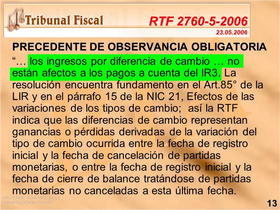RTF 2760-5-2006 23.05.2006 PRECEDENTE DE OBSERVANCIA OBLIGATORIA