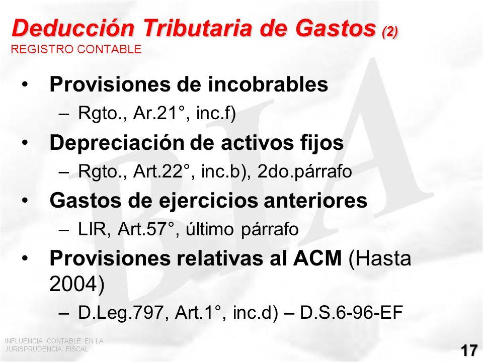 Deducción Tributaria de Gastos (2) REGISTRO CONTABLE