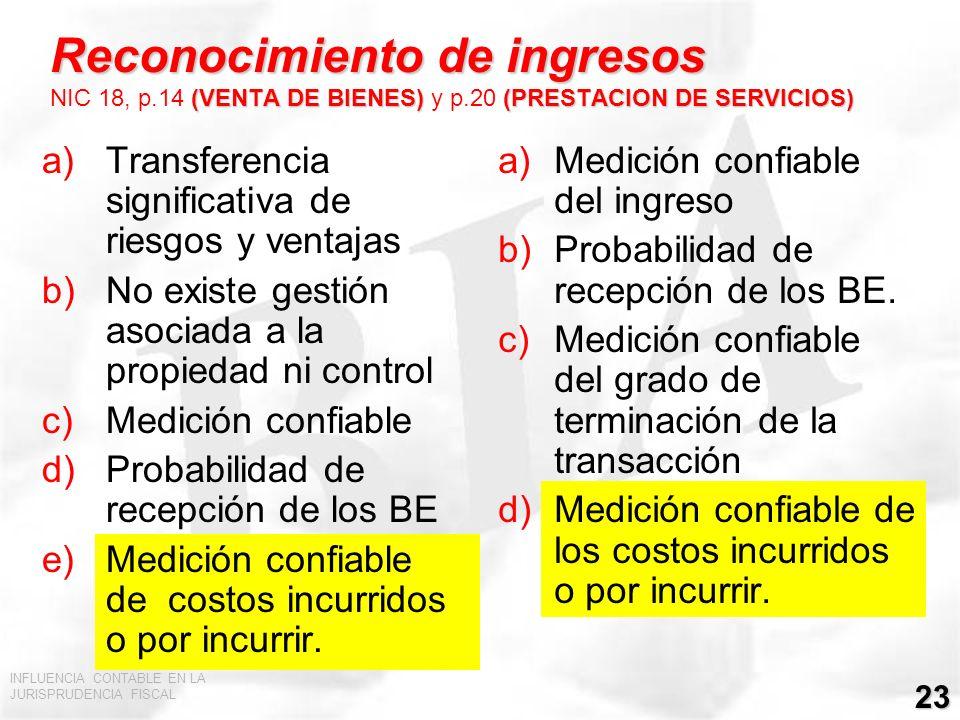 Reconocimiento de ingresos NIC 18, p. 14 (VENTA DE BIENES) y p
