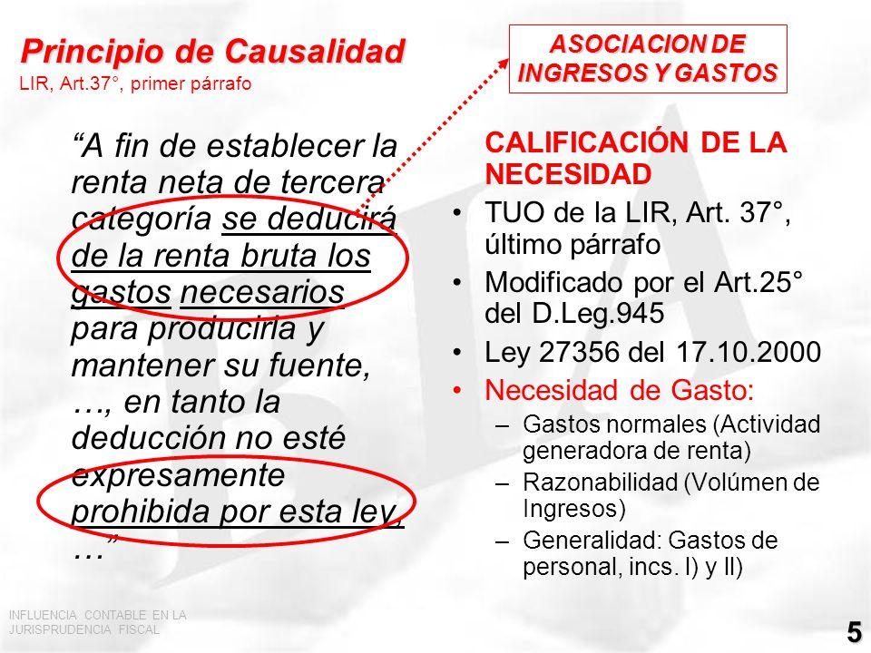 Principio de Causalidad LIR, Art.37°, primer párrafo