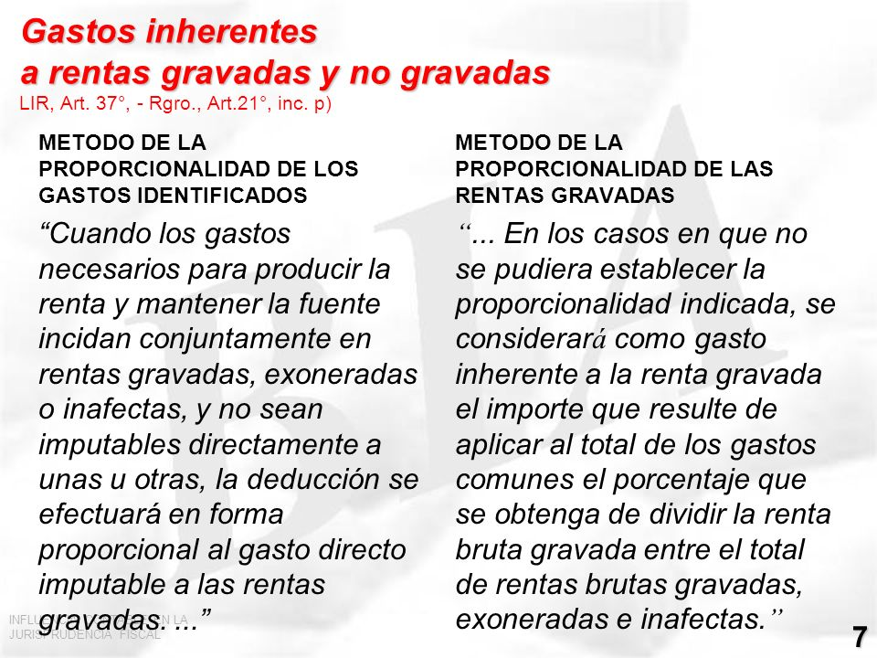 Gastos inherentes a rentas gravadas y no gravadas LIR, Art. 37°, - Rgro., Art.21°, inc. p)