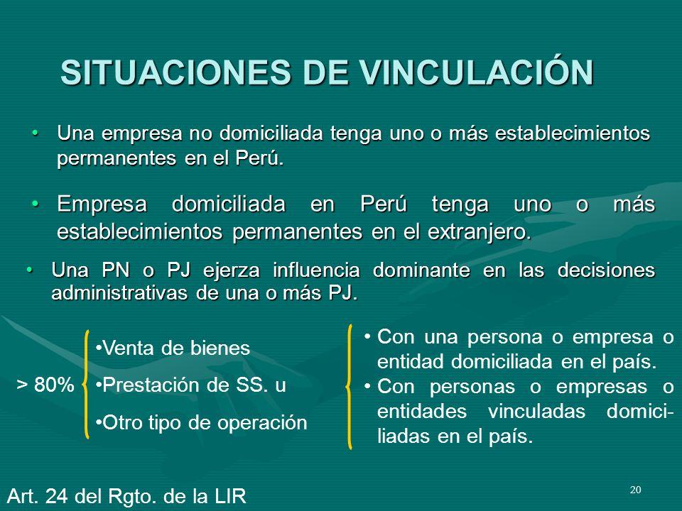 SITUACIONES DE VINCULACIÓN