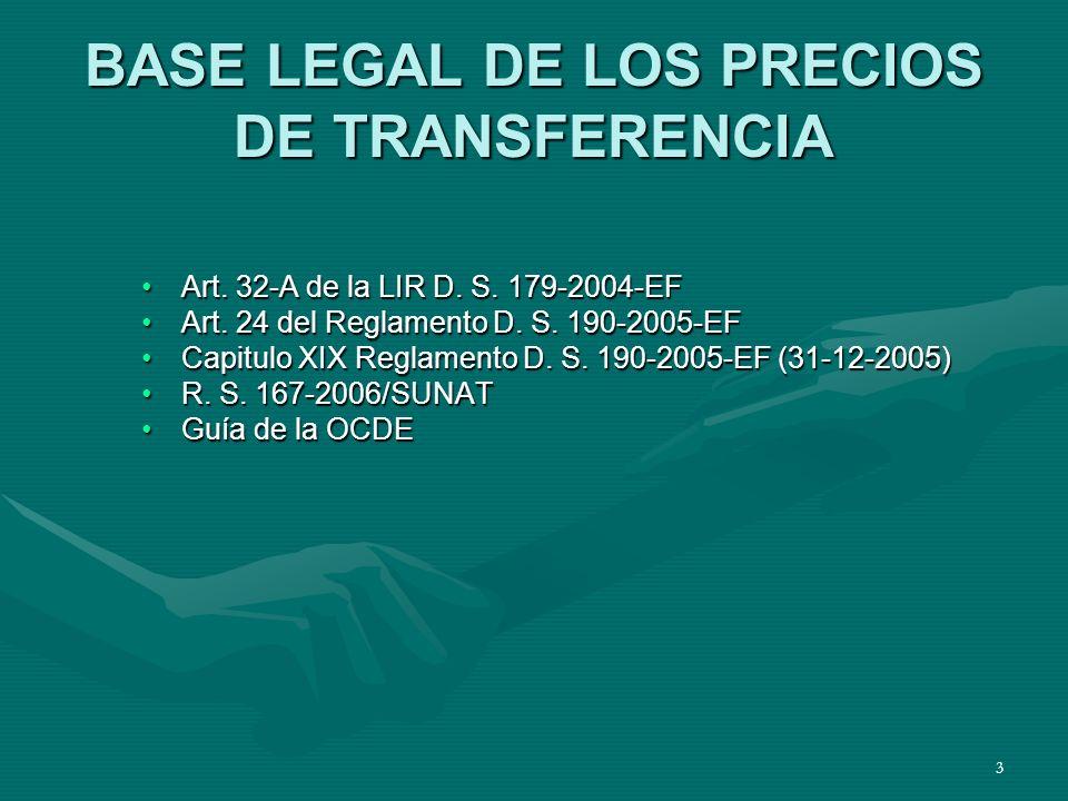 BASE LEGAL DE LOS PRECIOS DE TRANSFERENCIA