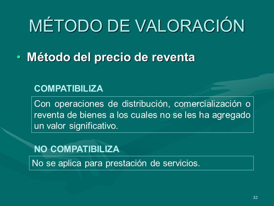 MÉTODO DE VALORACIÓN Método del precio de reventa COMPATIBILIZA