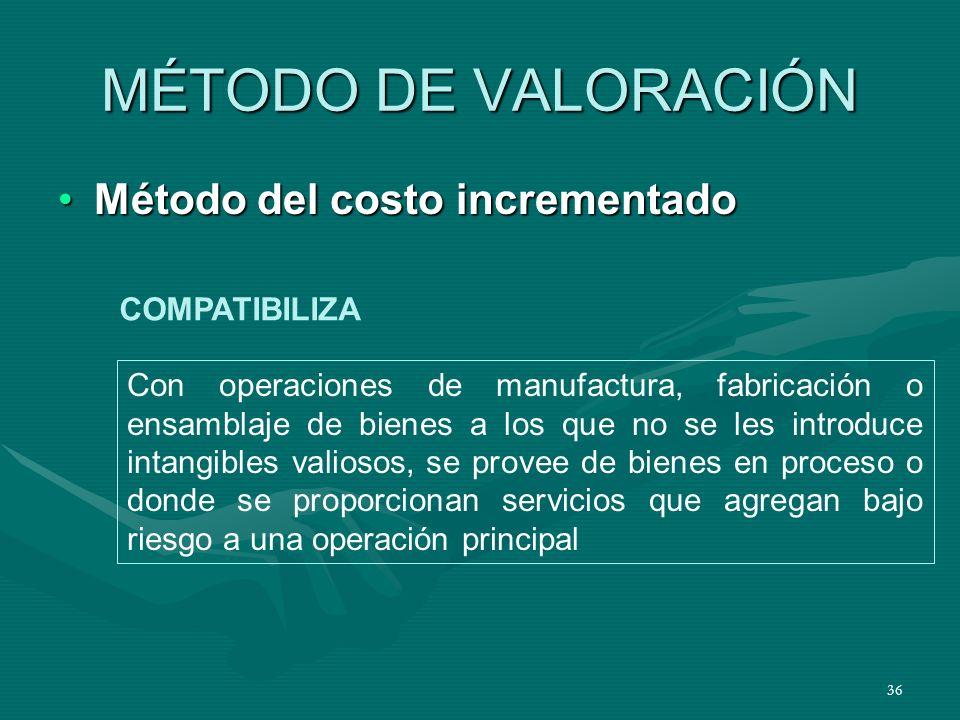 MÉTODO DE VALORACIÓN Método del costo incrementado COMPATIBILIZA