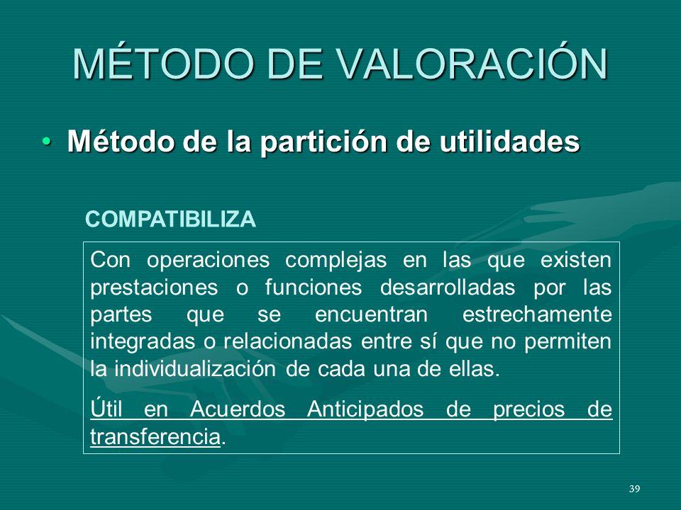 MÉTODO DE VALORACIÓN Método de la partición de utilidades