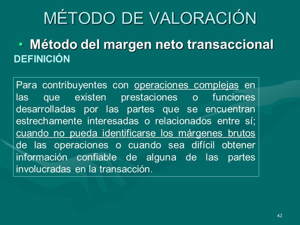 MÉTODO DE VALORACIÓN Método del margen neto transaccional DEFINICIÓN