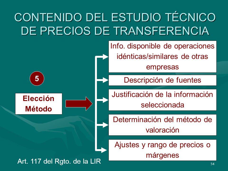 CONTENIDO DEL ESTUDIO TÉCNICO DE PRECIOS DE TRANSFERENCIA
