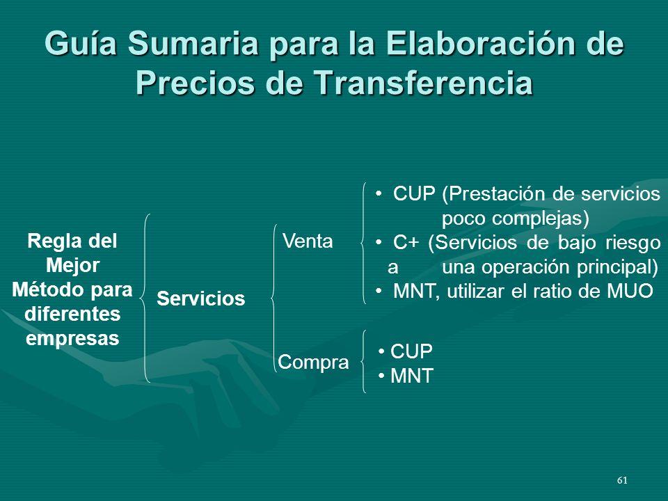 Guía Sumaria para la Elaboración de Precios de Transferencia