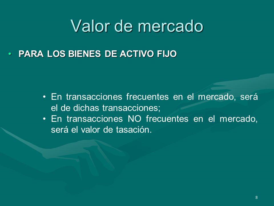 Valor de mercado PARA LOS BIENES DE ACTIVO FIJO