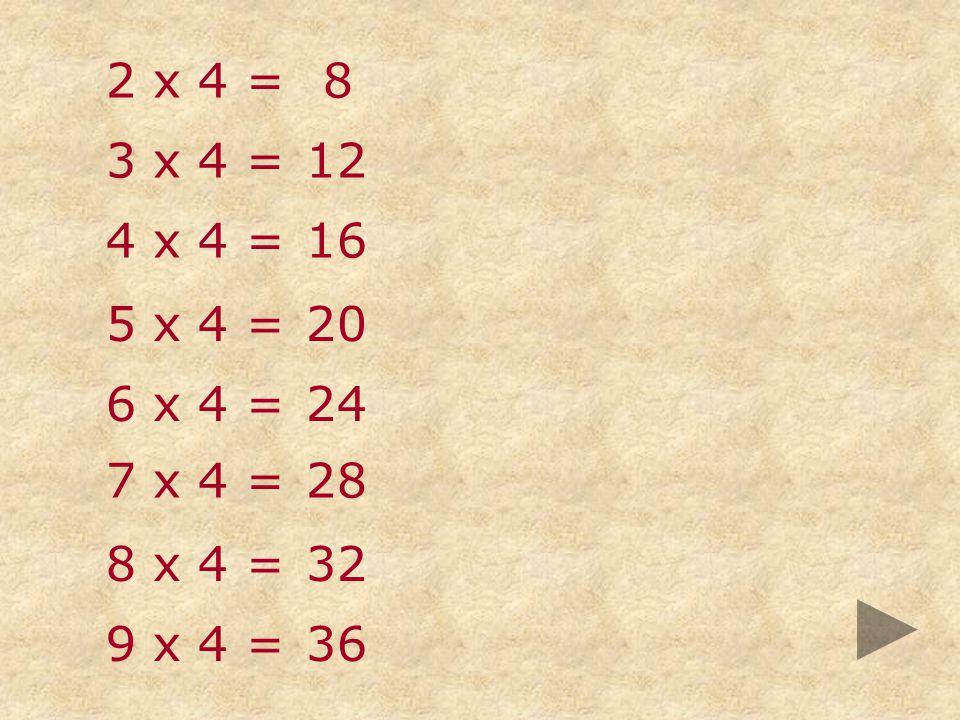 2 x 4 = 8 3 x 4 = 12 4 x 4 = 16 5 x 4 = 20 6 x 4 = 24 7 x 4 = 28 8 x 4 = 32 9 x 4 = 36