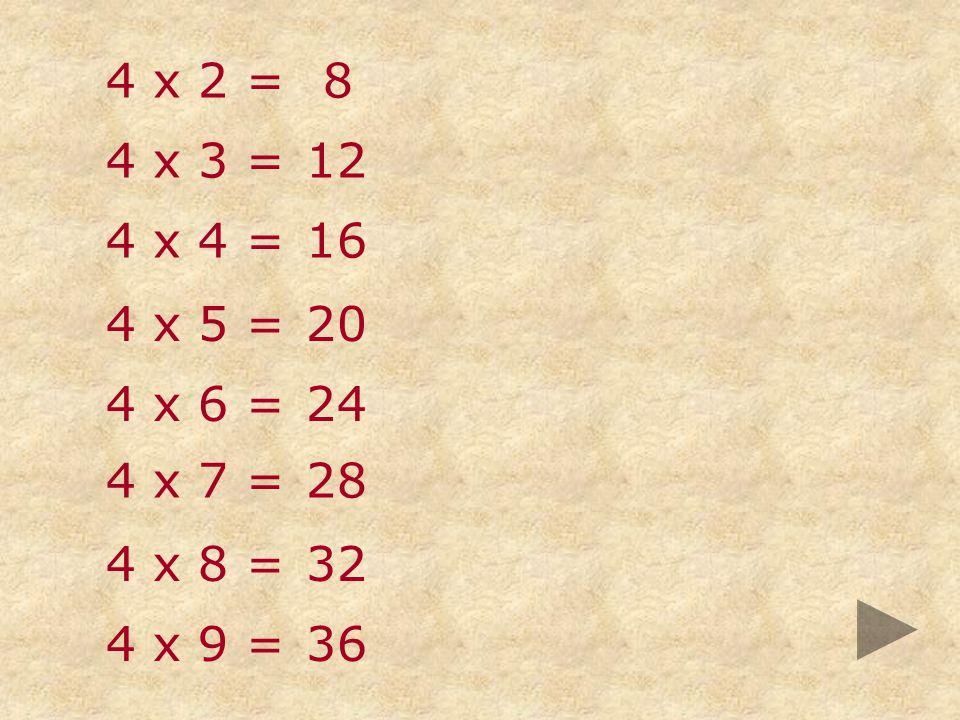 4 x 2 = 8 4 x 3 = 12 4 x 4 = 16 4 x 5 = 20 4 x 6 = 24 4 x 7 = 28 4 x 8 = 32 4 x 9 = 36