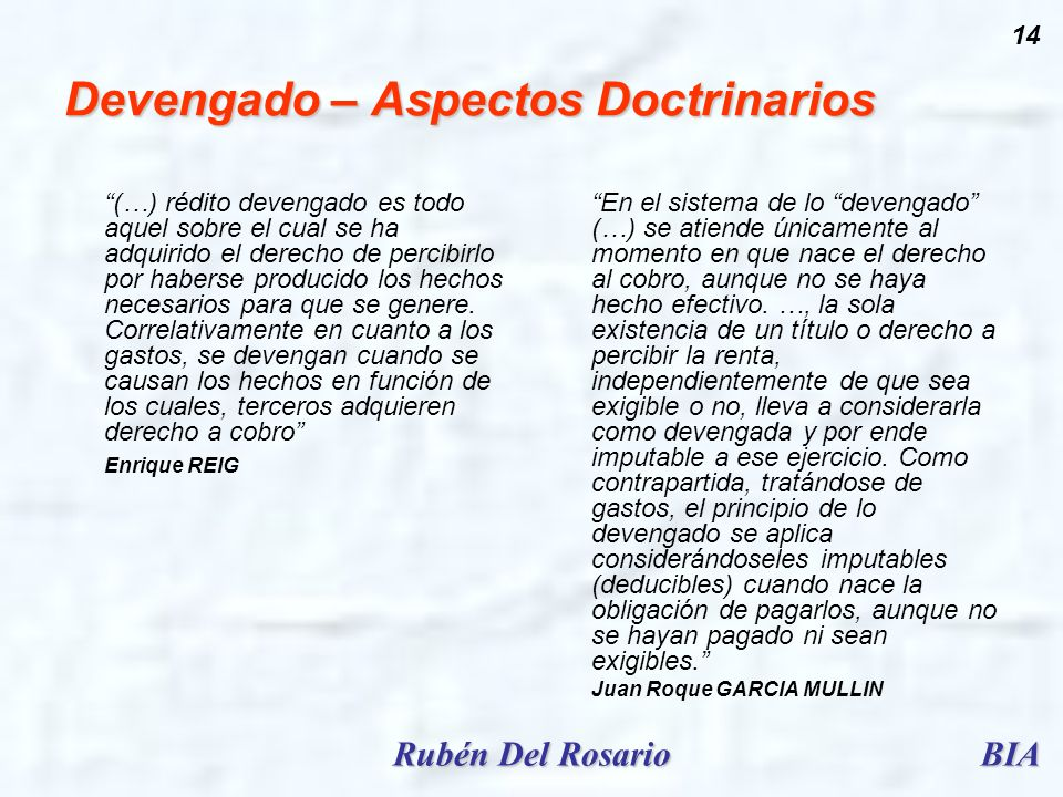 Devengado – Aspectos Doctrinarios