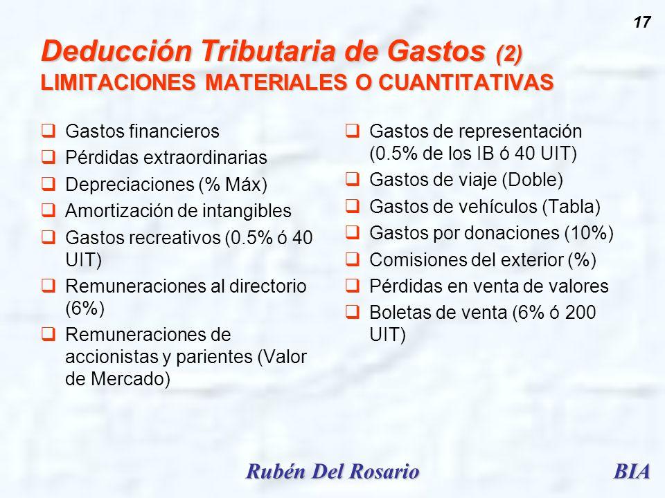 Deducción Tributaria de Gastos (2) LIMITACIONES MATERIALES O CUANTITATIVAS