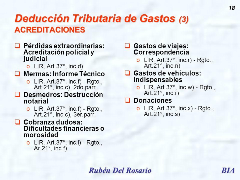 Deducción Tributaria de Gastos (3) ACREDITACIONES
