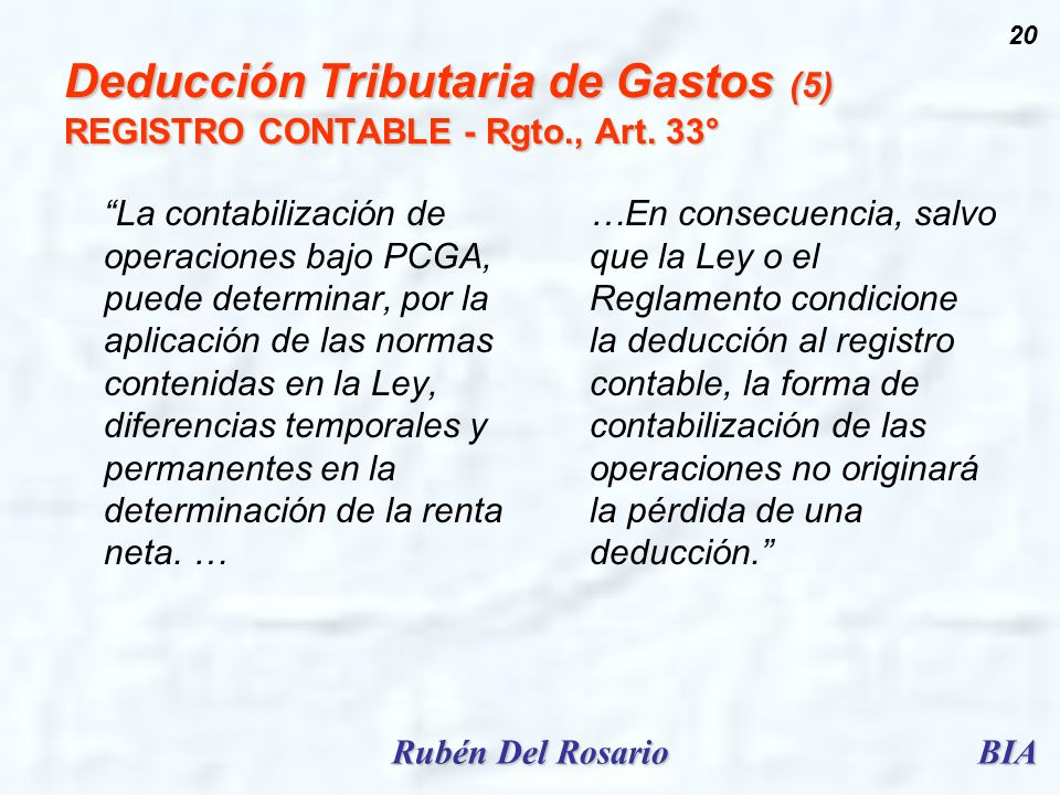 Deducción Tributaria de Gastos (5) REGISTRO CONTABLE - Rgto., Art. 33°