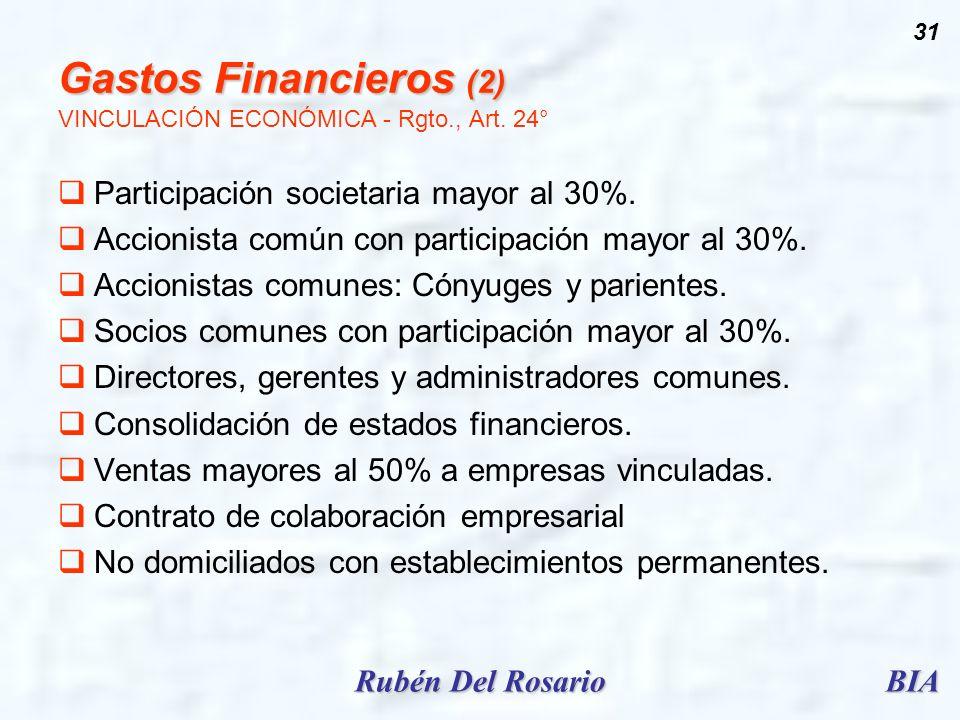 Gastos Financieros (2) VINCULACIÓN ECONÓMICA - Rgto., Art. 24°