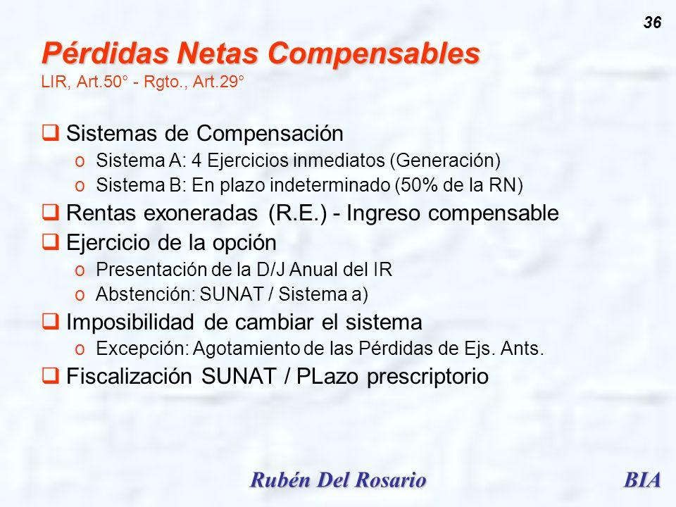 Pérdidas Netas Compensables LIR, Art.50° - Rgto., Art.29°