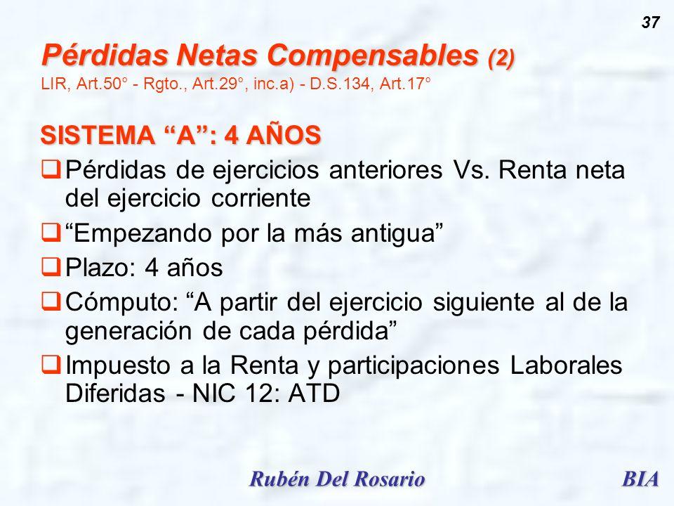 Pérdidas Netas Compensables (2) LIR, Art. 50° - Rgto. , Art. 29°, inc
