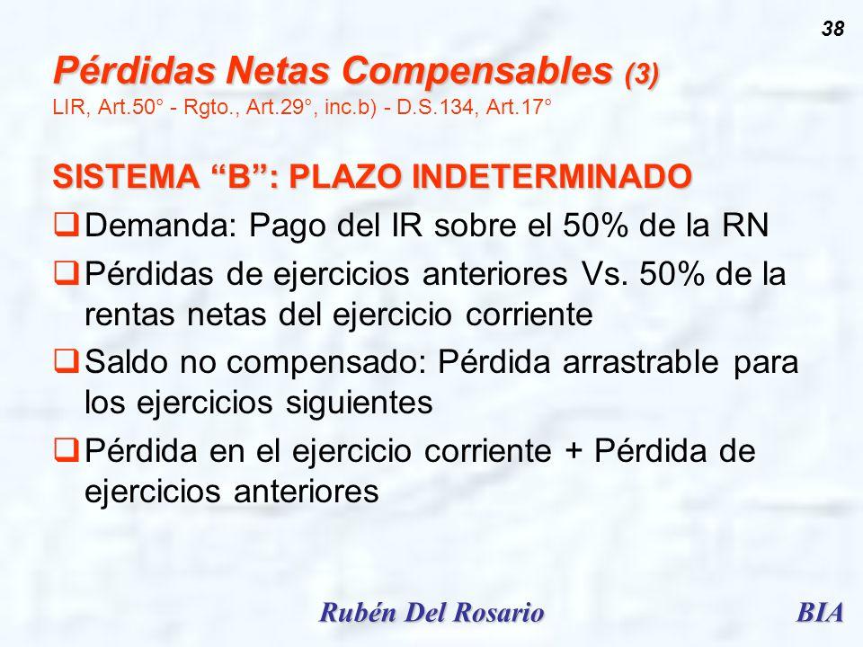 Pérdidas Netas Compensables (3) LIR, Art. 50° - Rgto. , Art. 29°, inc