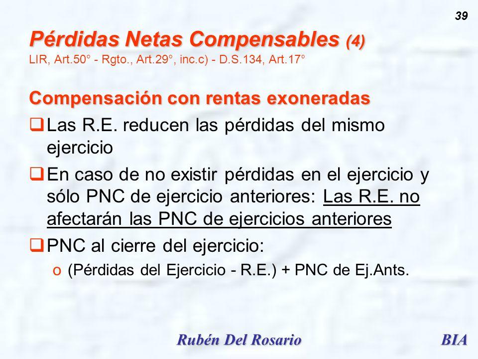 Pérdidas Netas Compensables (4) LIR, Art. 50° - Rgto. , Art. 29°, inc