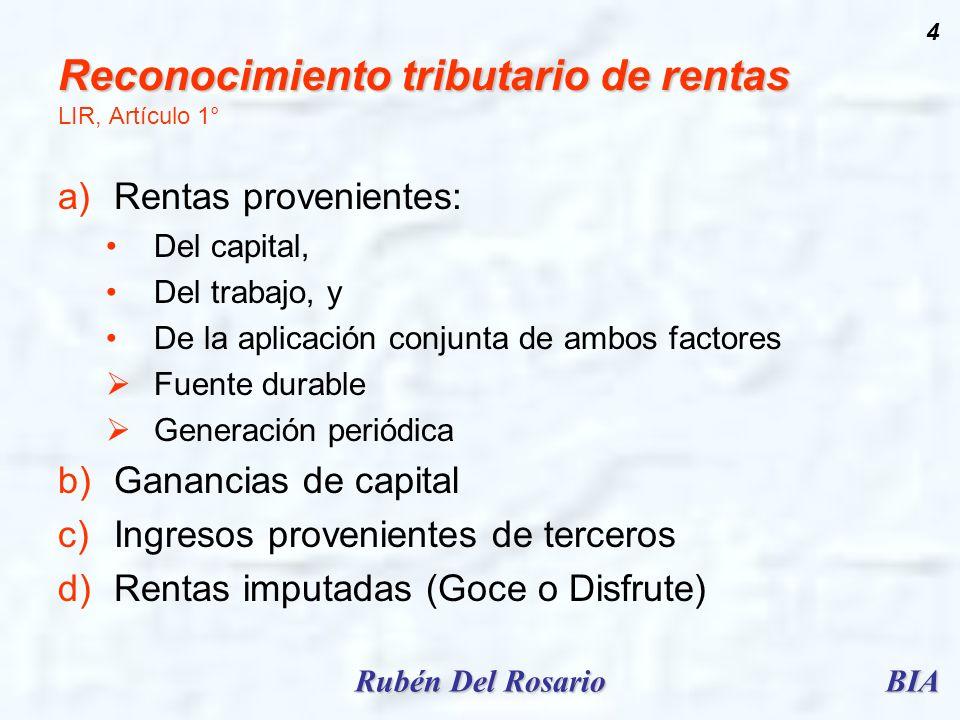 Reconocimiento tributario de rentas LIR, Artículo 1°