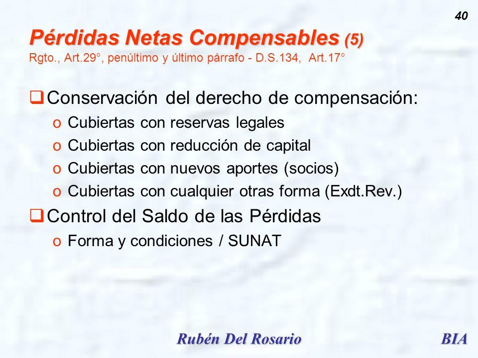 Pérdidas Netas Compensables (5) Rgto. , Art