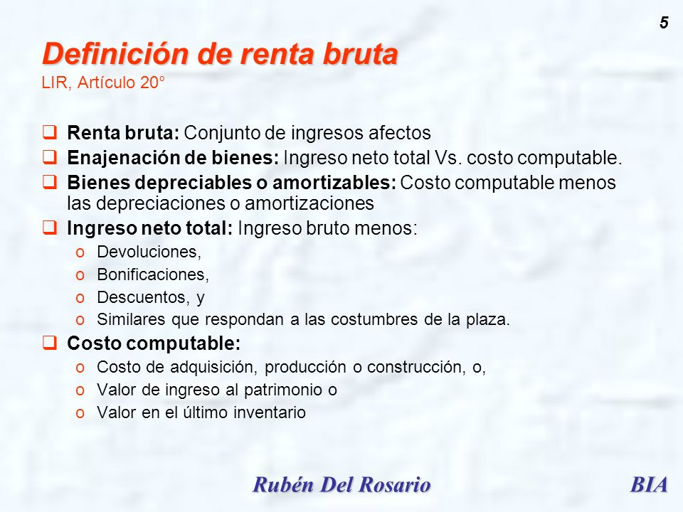 Definición de renta bruta LIR, Artículo 20°