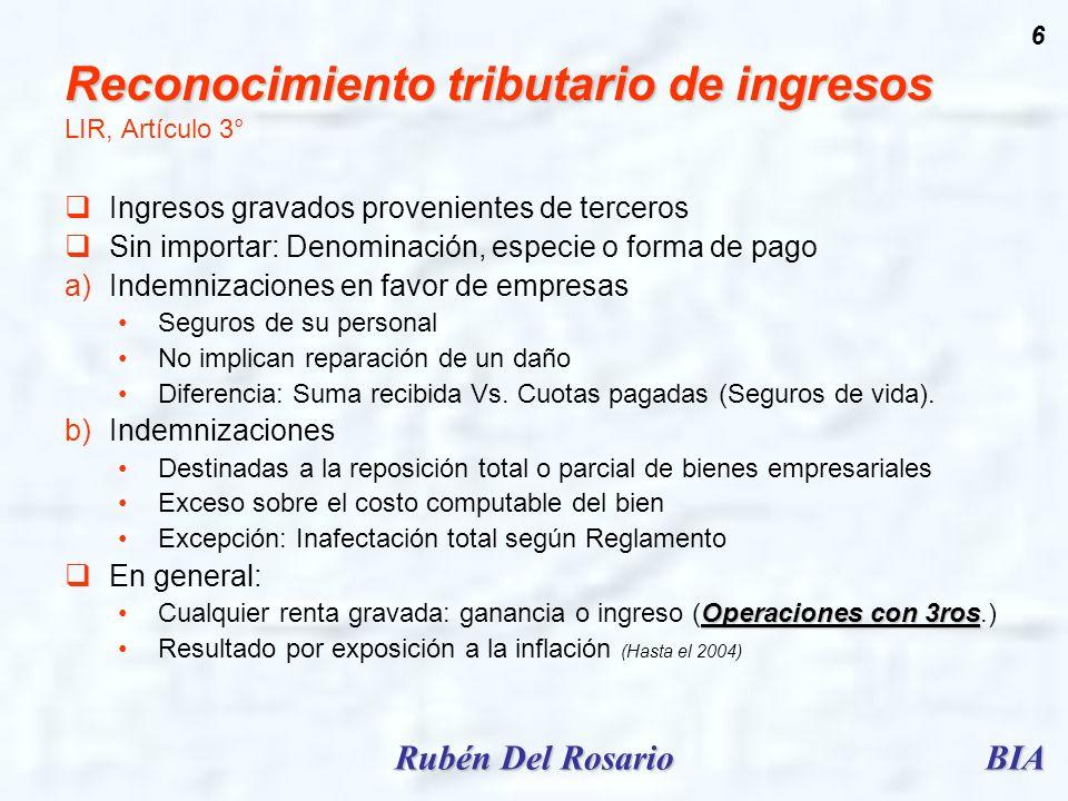 Reconocimiento tributario de ingresos LIR, Artículo 3°