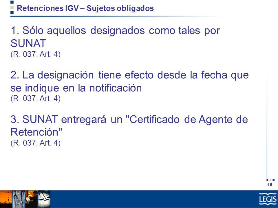 Retenciones IGV – Sujetos obligados