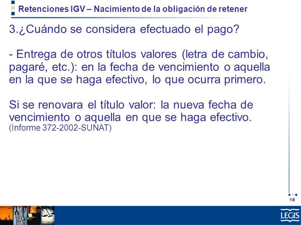 Retenciones IGV – Nacimiento de la obligación de retener
